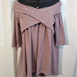 Umgee Tops - NWT Umgee Red/White off shoulder hi-lo tunic- med